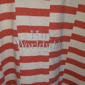 HUF worldwide stripped short sleeve t-shirt